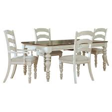 hillsdale pine island 5 piece dining table set with ladder back