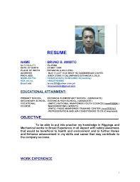 Ksa Resume Examples by Bruno B Ambito Resume New Update Doc