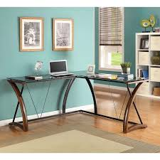 L Shaped Black Glass Desk Whalen Newport Wood Glass L Shaped Desk Black Glass Desktop