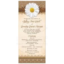 burlap wedding programs rustic burlap lace wood wedding program