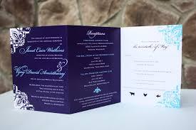 trifold wedding program paper black and purple wedding invitations invitation emdotzee