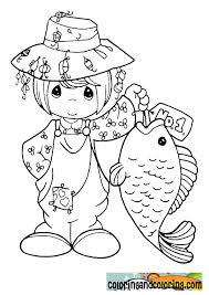 precious moments fish coloring pages catching fish