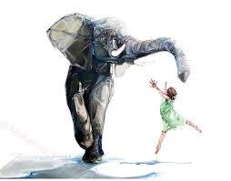Elephant Decor For Living Room by Elephant Illustration Modern Wall Art Surrealism Print