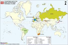russia football map countries with most registered football clubs world top ten