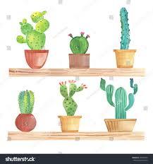 watercolor cactus pots on shelf stock vector 278487056 shutterstock