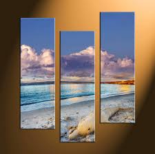 3 piece canvas sand blue ocean large pictures