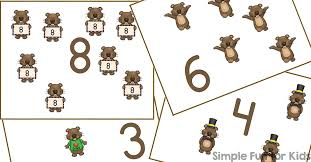 groundhog counting cards 1 12 simple fun kids