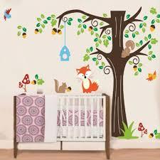 stickers animaux chambre bébé sticker mural arbre forêt renard et petits animaux achat vente