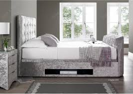 Bed Frame With Tv Built In Kaydian Barnard Tv Ottoman Storage Bed Silver Crush Fabric Within