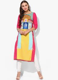 W by Buy W Aqua Blue Printed Kurta For Women Online India Best Prices