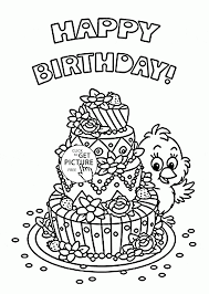 cute birthday card with big cake coloring page for kids holiday