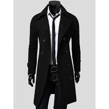 wholesale double breasted overcoat with side pockets l black