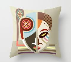 african mask throw pillow african pillows african home decor