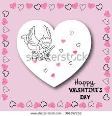 happy valentines day card template hand stock vector 362603933