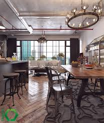 industrial vintage dining area vintage chairs wooden counter tops