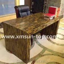 Yellow Reception Desk Yellow Tiger Eye Semi Precious Stone Table Tops Dark Yellow