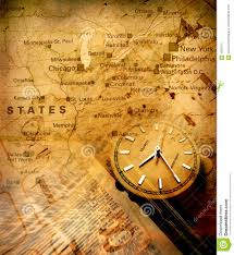 Oklahoma Treasure Maps Clock With Old Map Stock Images Image 4383374