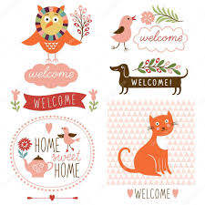 Welcome Home Decor Welcome Home Decor Elements U2014 Stock Vector Birdhouse 46246157
