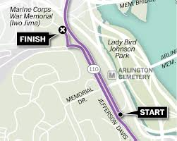 Arlington Cemetery Map Map Of The 2016 Marine Corps Marathon Route Washington Post