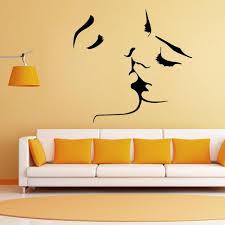 baise en chambre romantique baiser gravé stickers muraux fond lit chambre baisers