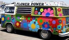 volkswagen van hippie 60 s party theme ideas 1960 vw van with large flowers party