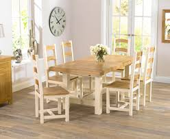 Marlow Oak  Cream Dining Table With Four Marlow Dining Chairs - Cream kitchen table