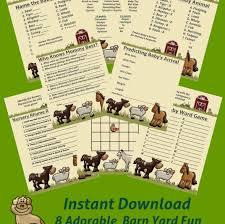 8 farm animal baby shower games pdf and jpg barn yard fun