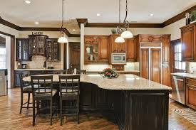 breathtaking design ideas using u shaped brown wooden cabinets and