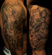 st michael tattoo sleeve pictures to pin on pinterest tattooskid