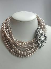 choker style pearl necklace images Multistrand light coffee pearl necklace with removable rhinestone jpg