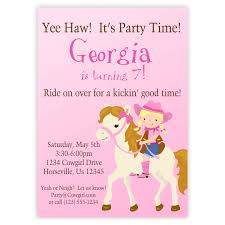 cowgirl invitation cute pink cowgirl and horse