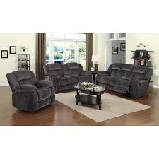Gray Living Room Set Poundex Bobkona Colona 3 Sofa Set In Ash Walmart