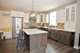 White Stained Wood Kitchen Cabinets Farmhouse Kitchen Ideas On A Budget Stainless Steel Moen Faucet