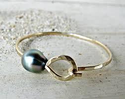 bangle bracelet with pearl images Tahitian pearl bangle gold hammered bracelet hawaii beach jpg