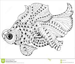 zentangle stylized floral china fish doodle stock vector image