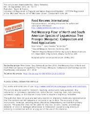 PDF Pod Mesocarp Flour of North and South American Species of