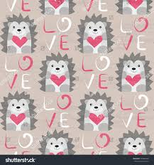 hedgehog wrapping paper hedgehog heart seamless pattern stock illustration