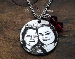 photo engraved necklace picture necklace etsy