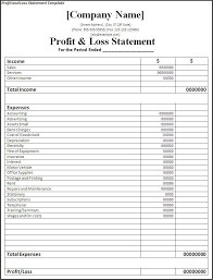 profit and loss spreadsheet template profit and loss statement