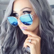 large oversized cat eye sunglasses flat mirrored lens metal frame