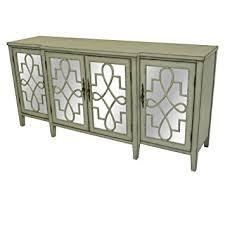 amazon com isabelle 4 door breakfront grey and mirrored