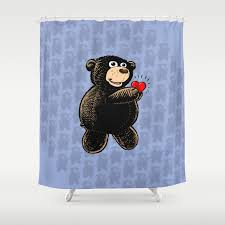 Teddy Shower Curtain Teddy Holding W Blue Pattern Shower Curtain By