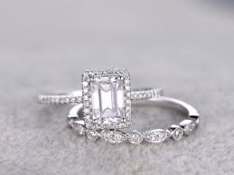 2 moissanite bridal set 5x7mm emerald cut moissanite engagement