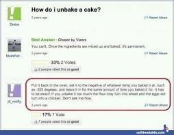 What Is A Meme Yahoo Answers - unbaking a cake yahoo answers unfriendable funny pinterest