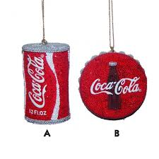 coca cola beaded can and bottle cap ornament and city