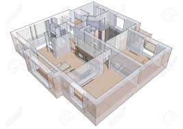 3d apartment 3d apartment sketch on a white background in lines stock photo