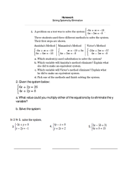 eighth grade lesson elimination to solving systems 1