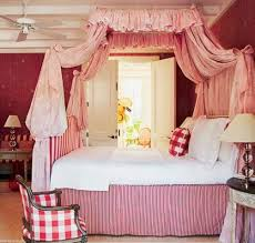 bedroom european home decor with canopy bed and red wallpaper