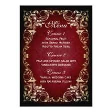 shabby chic wedding menus rustic vintage red floral wedding menu