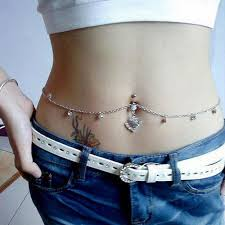 chain belly rings images Women body piercing rhinestone navel button ring belly bar waist jpg